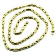 18k Yellow Gold Chain 3.5mm Alternate Rounded Tube Link 50cm 20 Made In Italy