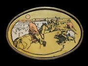 Ng03105 Vintage 1970s Cowboys In The Desert Solid Brass Western Art Buckle