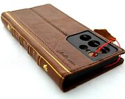 Genuine Full Leather Case For Samsung Galaxy S21 Ultra Wallet Book Bible Cover