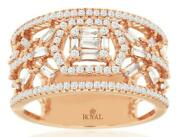 .70ct Diamond 14kt Rose Gold Round And Baguette Cluster Hexagon Anniversary Ring