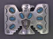 Vintage 1950s Frontier Buckles Nickel Silver Belt Buckle Thunderbird And Turquoise