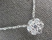 1.11ct Diamond 14kt White Gold 3d Round Flower By The Yard Love Necklace 27316