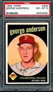 1959 Topps 338 George Sparky Anderson Rc Psa 8 Sharp Rookie