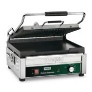 Dual Panini Grill -ribbed Top Plate Flat Bottom Plate Silver 14.5 X 11 Surface