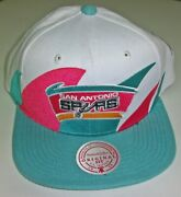 San Antonio Spurs Mitchell And Ness White Pink Blue Snapback Hat Cap Nba