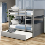 Full Over Full Bunk Bed Frame W/ Twin Size Trundle White Gray Bedroom Furniture