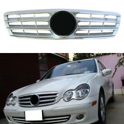 4-pin Front Grille Grill Chrome Silver Fit Mercedes Benz C Class W203 2000-2006