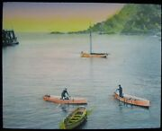 Tinted Glass Magic Lantern Slide The Harbour Ilfracombe Dated 1919 Photo Devon