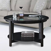 2-tire Wood Coffee Table Cocktail Table Clear Glass Top Living Room Furniture Us