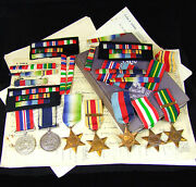 A Group Of Second World War Medals + Ribbons And Supporting Documentation