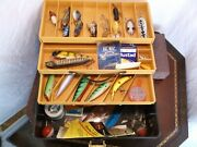 Vtg Wooden Fishing Lures, Tackle, Ted Williams Tackle Box Lot Rare