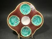 Rare Antique Wedgwood Majolica 4 Wells Fish Heads On Scales Oyster Plate