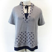 Catherines Plus Size Grey Star Print Hooded String Tunic Top Blouse 5x34/36w