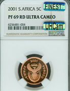 2001 South Africa 5 Cents Ngc Pf69 Mac Uhcam Finest Grade And Mac Spotless Rare