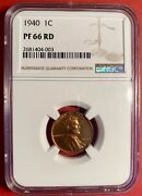 😃 Ngc Certified 1940 Lincoln Wheat Cent Ngc Pf66rd - High Grade Proof Penny