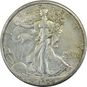 1934-s Walking Liberty Silver Half Dollar / Better Date And Details / A27
