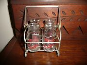 Vintage Toy Milk Rack Candy Container Owens Illinois Glass 4 Pure Milk Bottles