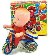Vintage Mechanical Wind-up Bell Cycle Tricycle Toy With Revolving Bell With Box
