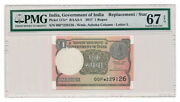 India Banknote 1 Rupee 2017. Replacement Note Pmg Ms-67 Epq