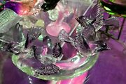 Exceptional Murano Italy Mid-century Heavy Curved Glass Branch W4 Birds 16x10x7