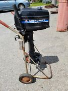 Mercury 4 Hp Outboard Motor 2 Cycle Long Shaft Complete Turns Over Untested