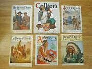 6 Vintage Magazine Covers-1919-37 Native American Indians-christy/barnum/reiss