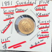 5 Kronor 1881 Gold Coin Norway And Sweden King Oscar Ii Gem Bu Stunning Classic