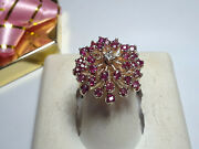 Vintage .85cttw Natural Ruby And Diamond Firework Flower Top 10kt Yg Ring 15420