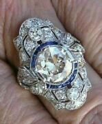 Royal Antique Elongated Victorian Vintage Cocktail Ring 3 Ct Diamond 925 Silver