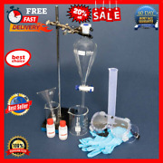 Separatory Glass 250ml Funnel Kit With Stand Clamp Beaker Gloves And Goggles New