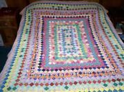 Vintage Hand Quilted Postage Stamp Quilt 1 Squares Cutter 84 X 68 Pink