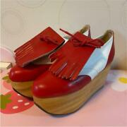 Vivienne Westwood Rocking Horse Golf Shoes Loafers Red X White Uk3