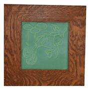 Door Pottery Matte Green Koi Fish And Lily Pads Framed Tile
