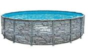 Summer Waves 18and039 X 48andrdquo Stone Print Above Ground Pool With Ladder Filter Pump