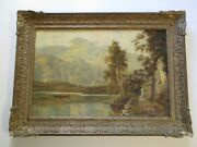 Finest Theodore Hines Oil Painting Mountain Lake Landscape Loch Katrine Antique