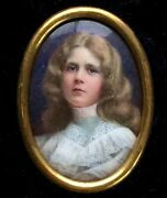 C1902 Miniature Detailed Painting Of Beautiful Young Blond Girl Woman Porcelain