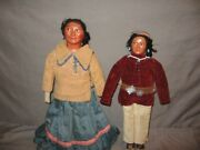 Vintage Lot Of 2 Snookum Native American Themed Dolls 12 Height