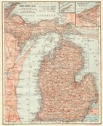 1914 Antique Michigan State Map Gallery Wall Art Vintage Map Of Michigan 9146
