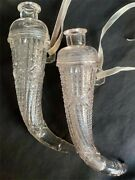 Pair Of Two Beautiful Antique Victorian Crystal Glass Hanging Floral Vases
