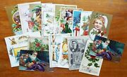 18 Old Antique Christmas Postcards Santa Green Suit Dogs Clapsaddle Winsch