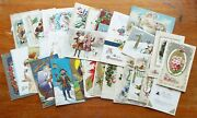 Lot Of 35 Old Antique New Year And Christmas Postcards Clock Winsch Uncle Sam