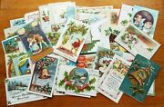 Lot Of 40 Old Antique Assorted Christmas Postcards Holiday Children Bells