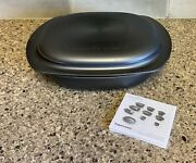 Tupperware Ultra Pro Casserole Roaster Pan 2.1 Quart Base With Cover Black New