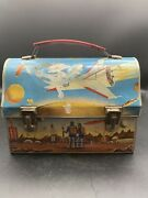 Dome Top Lunch Box Space Ship Moon Outer Space Theme
