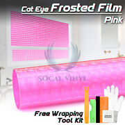 Pink Cat Eye Frosted Film Glass Office Home Bathroom Window Security Privacy Diy