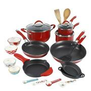 24-piece Cookware Combo Set Kitchen The Pioneer Woman Frontier Speckle Red