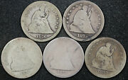 5 Liberty Seated Quarters. Full Dates. 1857, 1875, 2-1876, 1878. 5 Coins 160763