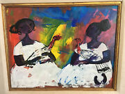 Alizandro Valencia Women With Chickens Oil Painting On Canvas Signed Framed