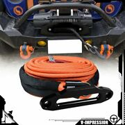 95and039 3/8 Synthetic Winch Rope 20500lbs Orange And 10 Mount Hawse Fairlead Black