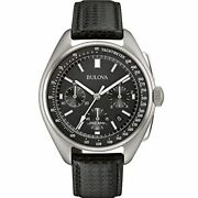 Bulova Archive Series Mens Watch, Stainless Steel With Black Leather Strap Lunar